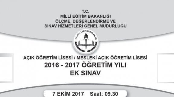 Genel Müdürlüğümüzce 07-08 Ekim 2017 tarihinde yapılan Açık Öğretim Lisesi