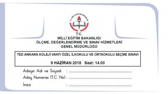 9 Haziran 2018 Tarihinde Yapılan TED Ankara Koleji Vakfı Özel